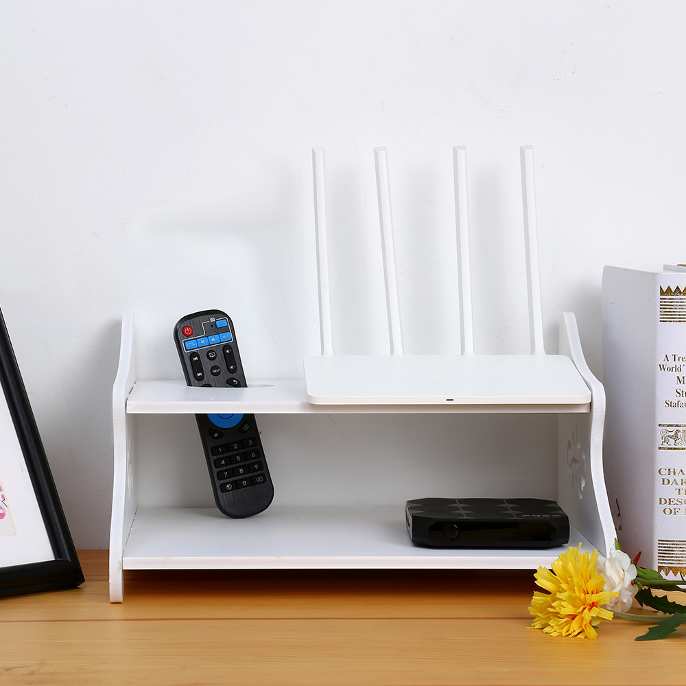 storage shaped up white router set shelf car rack product tv wall box decorative wifi store home holder mounted