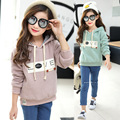 Girls coat 2016 new autumn and winter spring casual hooded thick long sleeved sweater baby children clothes 3-8-13 years kids