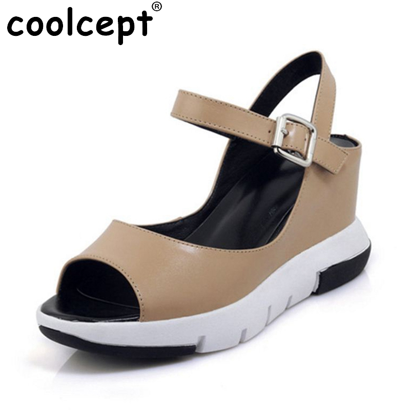 Coolcept Office Lady Genuine Leather Wegdes Sandals Ankle Strap Peep Toe Wedges Sandala Summer Shoes Women Footwear Size 34-39 genuine leather chunky heel gladiator ankle wrap women summer sandals 2015 new lady fashion peep toe shoes size 34 39 sxq0921