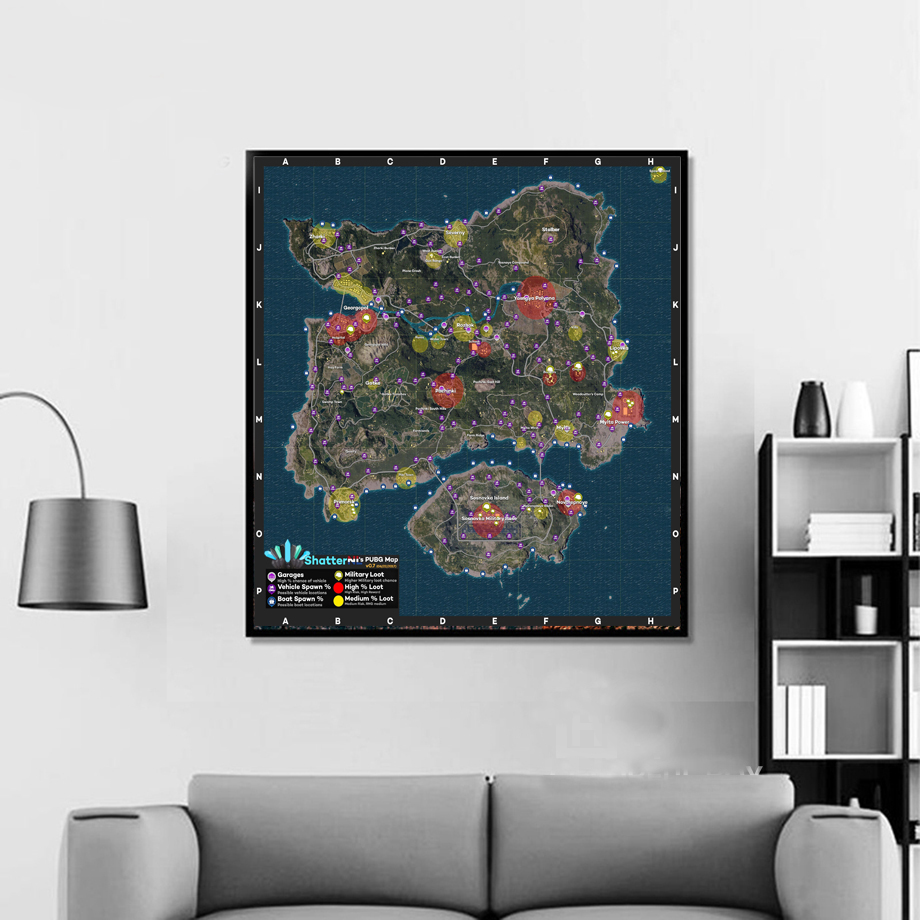 Battlegrounds Game Map Wall Art Canvas Posters Prints