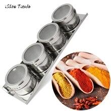 4 STÜCKE Küche Edelstahl Lagerung Flasche Magnetische Gewürzvorratsglas Dosen Behälter Mit Rack Halter Gewürz Kochwerkzeug