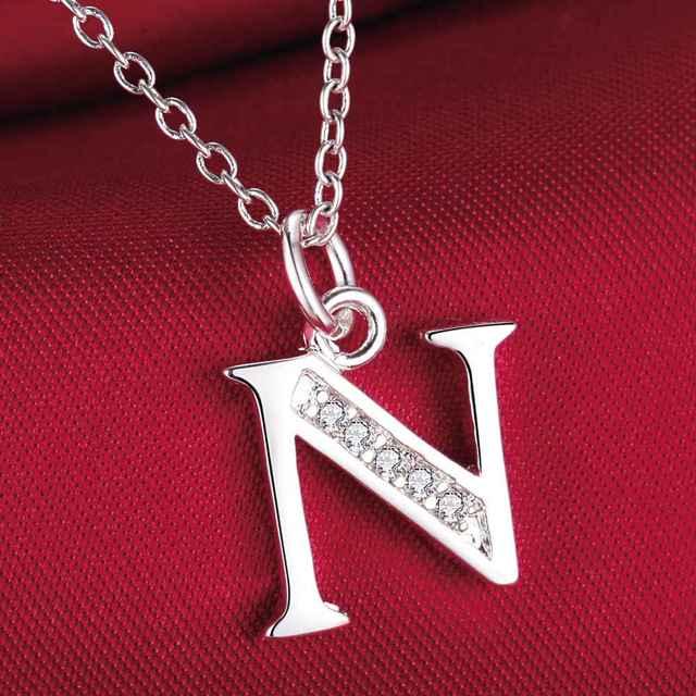 fashion letter N silver plated Necklace New Sale silver necklaces & pendants /YHVMXOBS CFAIZKTU