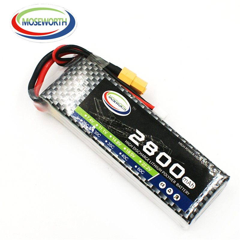 MOSEWORTH 4S RC Lipo Battery 14.8v 2800mAh 25C For RC Aircraft Quadcopter Airplane Car Drones Helicopter Li-ion Battery 4S AKKU 1s 2s 3s 4s 5s 6s 7s 8s lipo battery balance connector for rc model battery esc