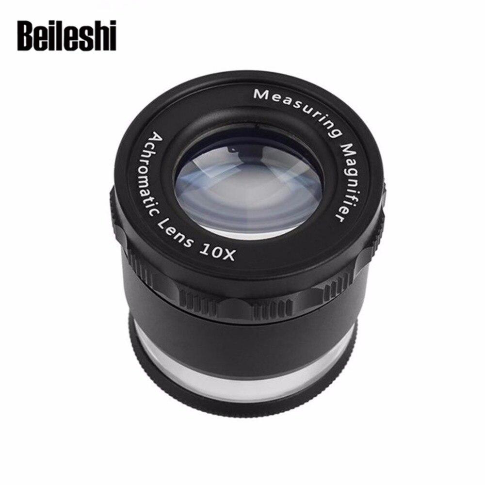 Beileshi HD medición lupa con luces LED lupa 10X portátil calibración precisa gafas con luz y lupa