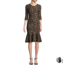 Вечерние платья с коротким рукавом и леопардовым принтом для женщин; Новинка года; зимняя Клубная одежда; облегающее Клубное платье средней длины; женские платья с русалочкой