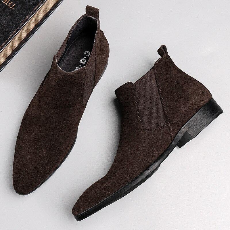 Vache Daim Non Cuir Style Véritable Mode D'hiver Courtes Chaussures De En slip Givré Rétro Hommes Britannique Bottes strdChQ
