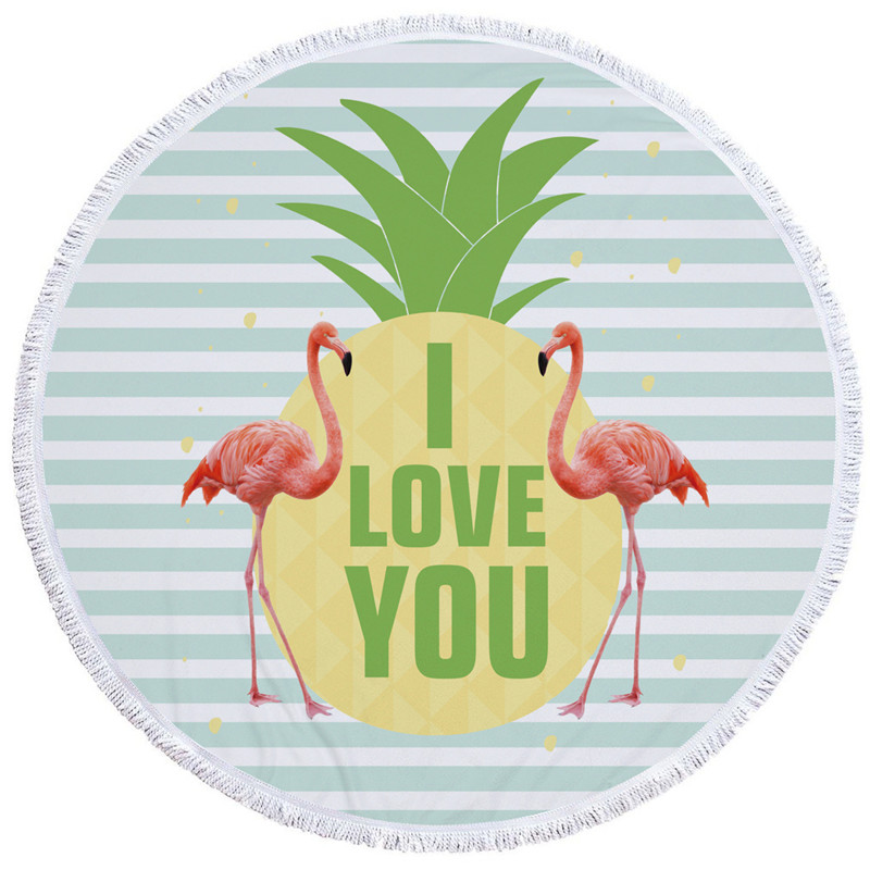 HTB1yH1CSXXXXXb8XXXXq6xXFXXXH - Round Style Microfiber Beach Towel - Flamingo With Tassels Design