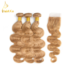 HairUGo Hair Pre-colored Brazilian Body Wave Lace Closure Non Remy Weft Hair Weave 3 Bundles Human Hair Bundles With Closure