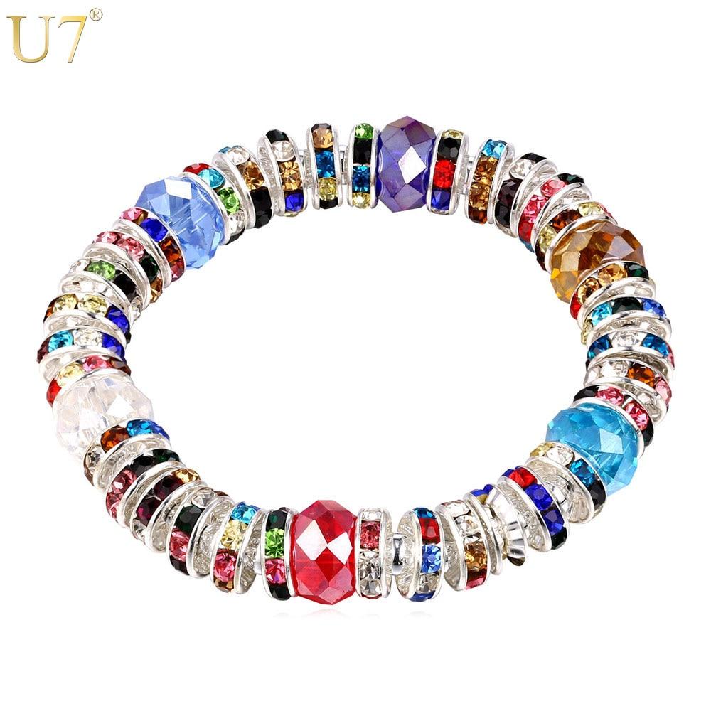 5a3c9178b0fd U7 Cristal Bohemia pulsera para las mujeres 2016 moda muti-color lujo  austriaco mujer pulseras pulsera joyería del grano H812