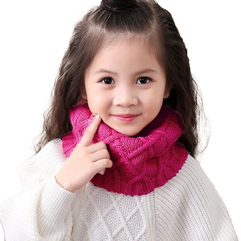 Baby Scarf 2017 Winter Autumn Children Girls Boys Kintted Wool O-Scarves Chidren Outing Protect Kint Solid Color Warm Scarfs