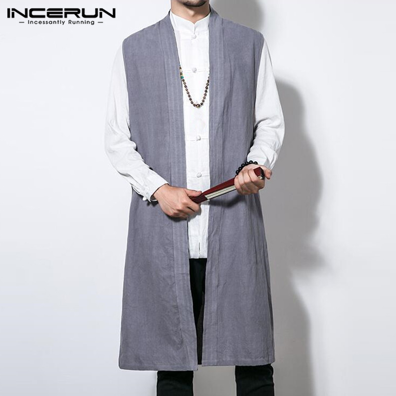 INCERUN Chinese Style Men Cardigan Sleeveless Vest Long Jackets Trench Overcoat Outwear Solid Color Kung Fu Robe Casual Coats