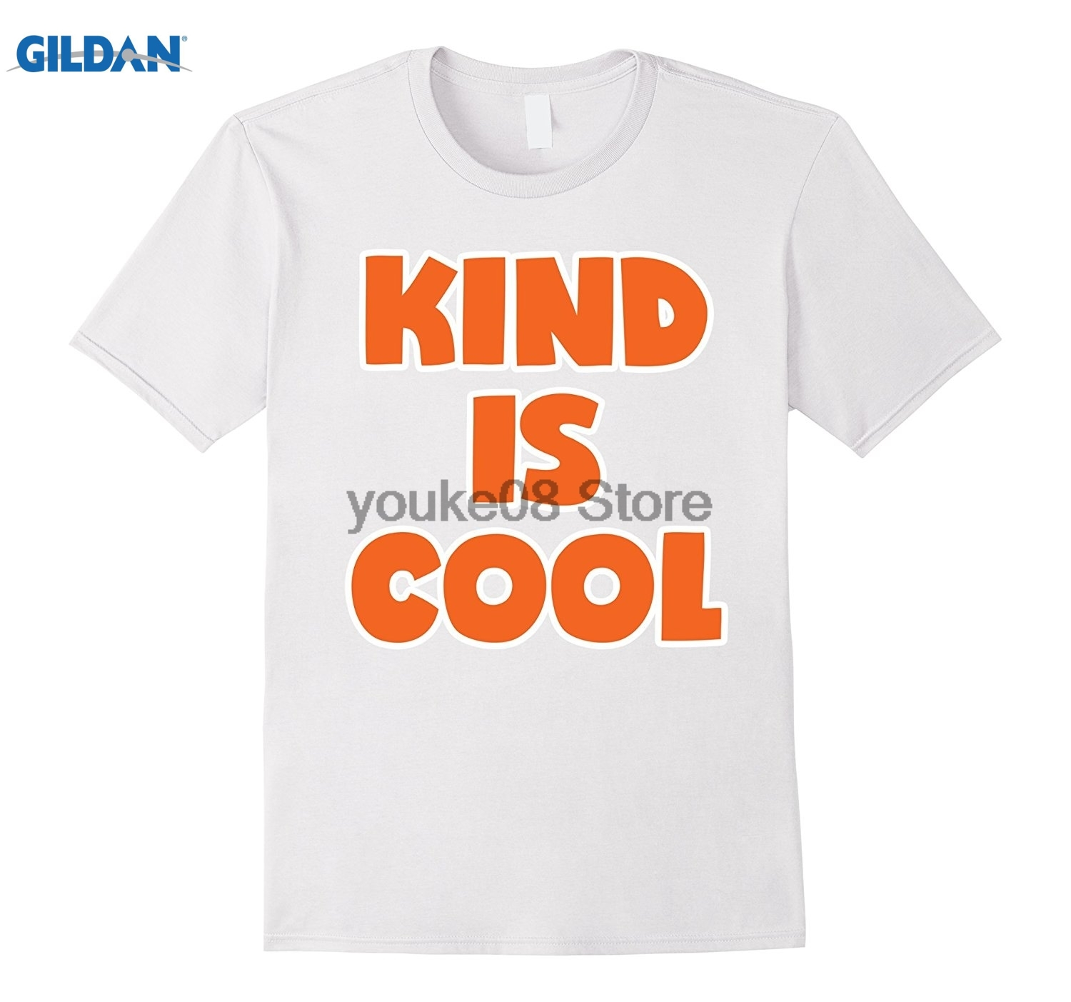 GILDAN 100% Cotton O-neck printed T-shirt Orange Kind Is Cool Anti Bullying Shirt For Girls Boys Kids