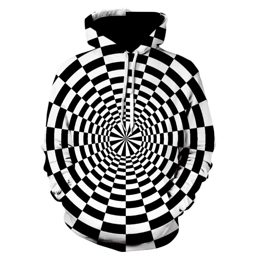 Latest Cool Men's Vertigo Hoodie, Black And White Checkered Flower Hoodie Sweatshirt, Men's Long-sleeved Hoodie Hip-hop Outfit