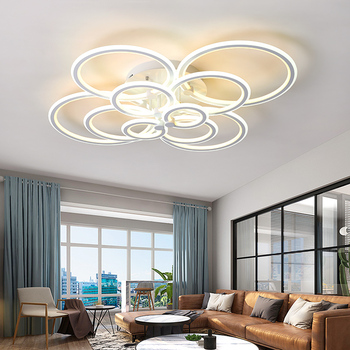 Double Glow Modern led chandelier for living room bedroom study room remote controller dimmable ceiling chandelier AC90-260V 1