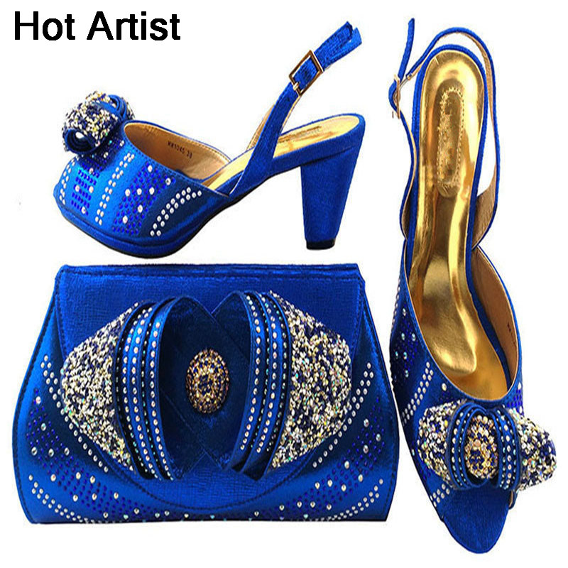 Hot Artist 2018 New Fashion Ladies Shoes And Bag Set Nigeria Style Woman Middle Heels Shoes And Bag Set For Party Dress MM1045