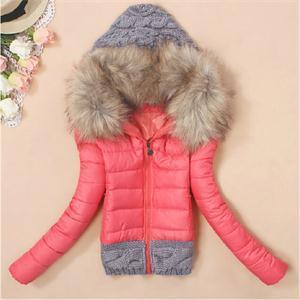 Hot Sale mujeres elegantes a la moda invierno cuello de piel con capucha de algodón delgado corto abajo cubre patrón sólido cremalleras capa de empalme