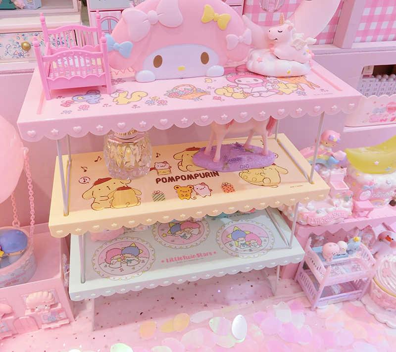 Rosa dos desenhos animados minha melodia pudim cachorro estrelas gêmeas pequenas prateleira de plástico cosméticos display boneca casa acessórios para presentes
