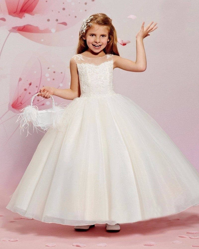 2019 Cute White Ivory Lace   Flower     Girl     Dresses   Sheer Scoop Neck Lace First Communion   Dresses   for   Girls   Pageant   Dresses