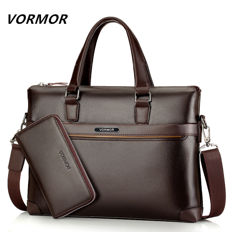 Famous Brand Fashion Casual Leather Bag Men's 2 Set Shoulder Bag Messenger Bags Business Handbag Laptop Male Briefcase