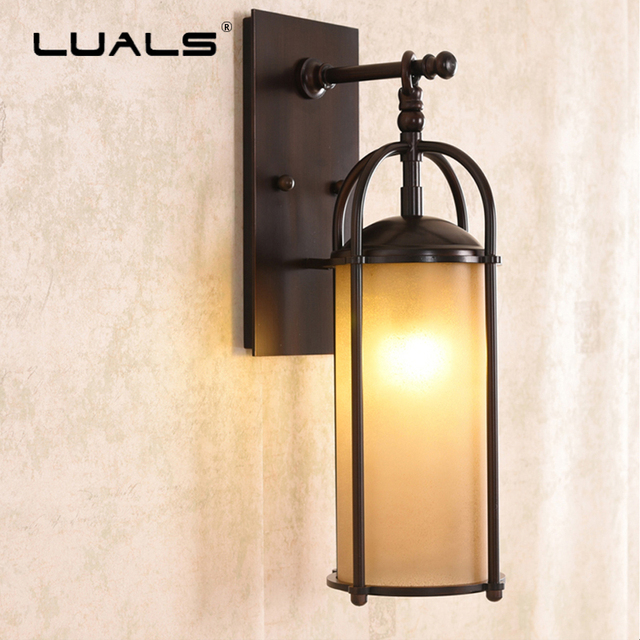American Retro Wall Lamp Glass Shade Wall Lamps Iron Wall Lights ...