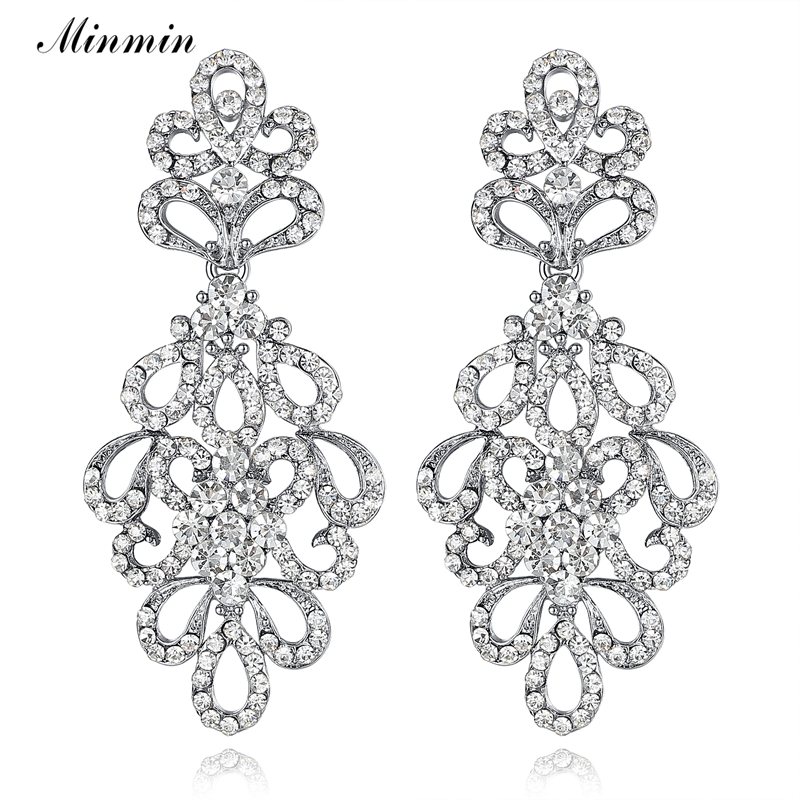 2015 Spring New Luxury Chandelier Austrian Crystal Bridal Drop Earrings for Women White K Plated Elegant Long Earrings EH177