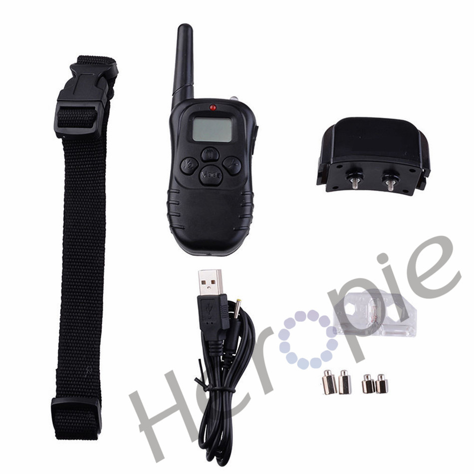 Heropie 300 Meters Rechargeable And Water-resistant Remote Electric Shock Anti-bark Pet Dog Training Collar With LCD Display