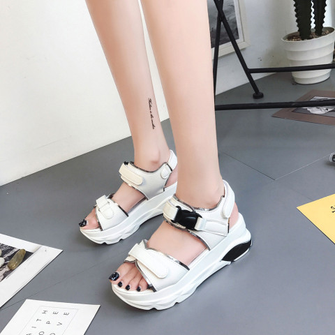 Buckle Leather Sandals Women Spring Summer Thick Bottom Shoes Fashion Casual High Platform Sandals Med Heel Wedges Walk Shoes Lahore