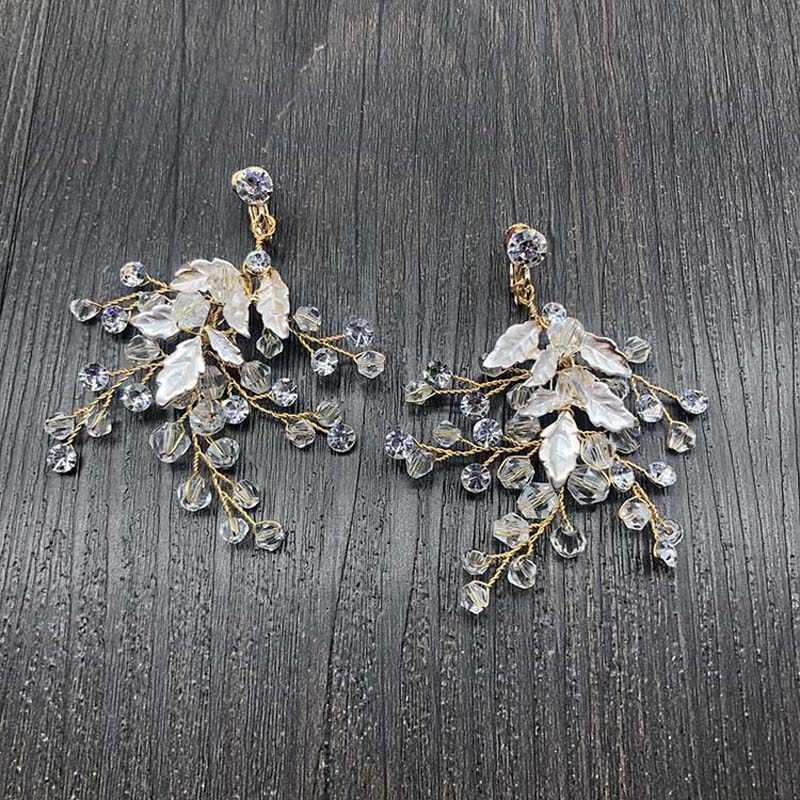Slbridal Buatan Tangan Berlian Imitasi Kristal Mutiara Klip Pada Pernikahan Menjuntai Anting-Anting Pengantin Lampu Gantung Anting-Anting Fashion Wanita Perhiasan