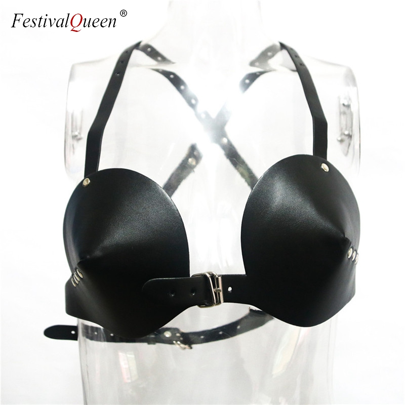 FestivalQueen sexy PU leather bra women lingerie black adjustable chest harness restraint bras for lady 3 colors