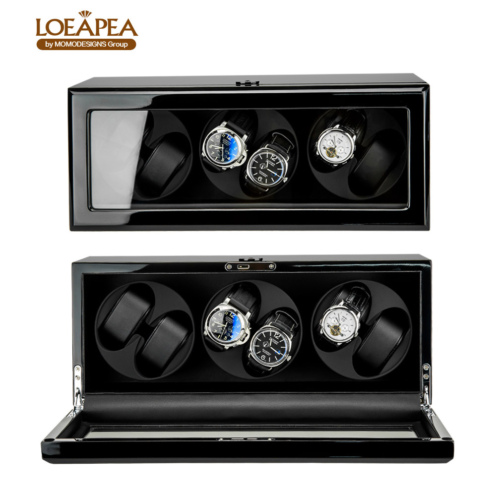 New design Automatic watch winder storage display box with TPD mode and Door sensor function and including Battery box professional collector watch winder 4 5 watches reel winder display with led ligth top glass window door sensor