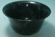 Chinese Natural Jade Carved Beautiful Color Bowls Free shipping