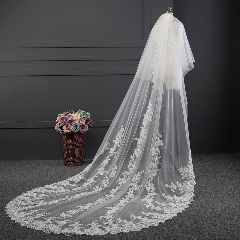 Real Photos Wedding Accessory 2 Tiers Wedding Veil Lace
