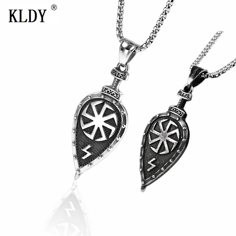 KLDY Viking Shield Necklace Pendant Stainless Steel Nordic Viking Necklace  Slavic Amulet Pendant for Women Men Jewelry choker