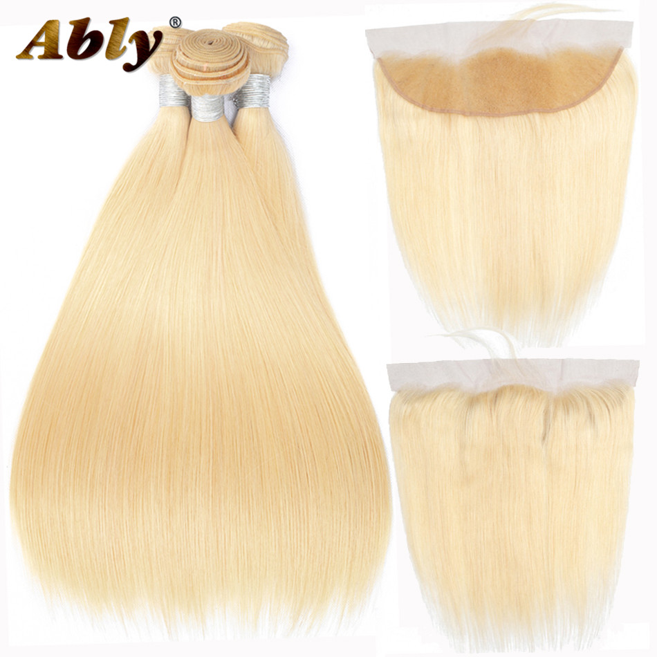 613 Bundles With Frontal Ably 100% Remy Hair Blonde Color Human Hair Extensions Malaysian Straight Hair Bundles With Frontal