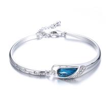 High quality fashion blue crystal lovers`birthday gift 925 sterling silver ladies`bracelets jewelry wholesale women gift female