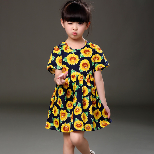 c49c70b77138b FunnyABC girls flower dress summer sunflower print casual short sleeve girl clothes  blue 2-8 years cotton princess girl dress