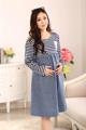 Alta qualidade 2017 primavera e no outono as mulheres grávidas de manga comprida azul marinho listrado patchwork denim dress vestidos de enfermagem da maternidade