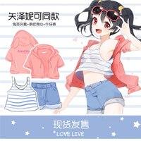 Anime Liebe-live! Yazawa Nico Cosplay Drei Stück Anzug Mantel + Vest + Jeans Hohe Qualität + Freies Verschiffen G
