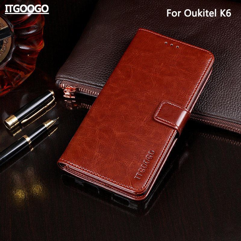 Case For Oukitel K6 Case Cover 6.0 High Quality Flip Leather Case For Oukitel K6 Cover Capa Phone bag Wallet Case