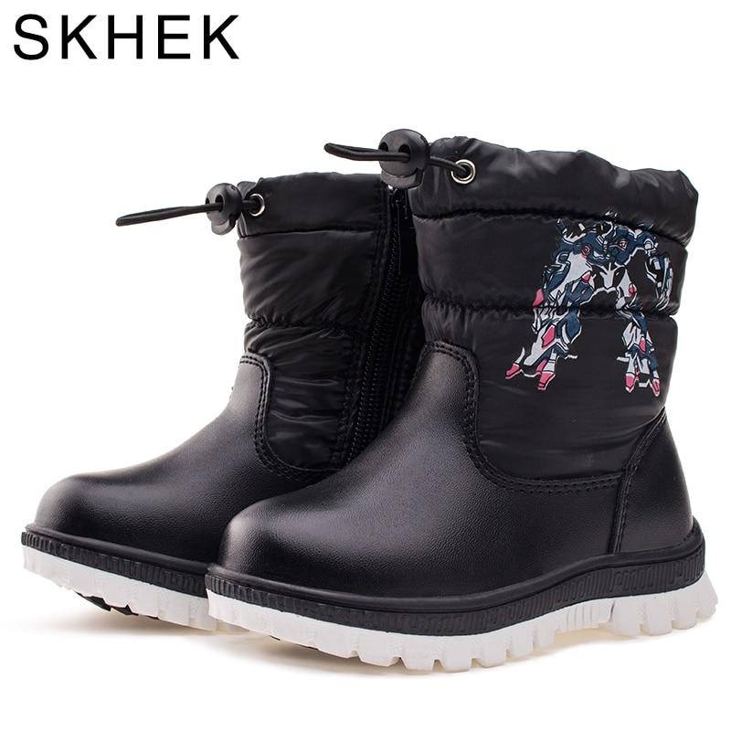SKHEK Kinder Winter Mode Stiefel Für Mädchen Reißverschluss Plüsch Runde Kappe Stiefel Unisex Gummi Ankle Schuhe Blau Schwarz C1707