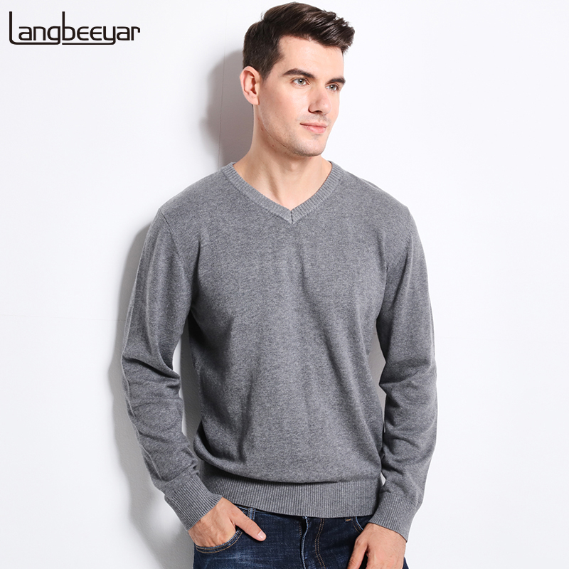 New Autumn Winter Fashion Clothing Men'S Sweaters V-Neck Solid Color Slim Fit Men Pullover 100% Cotton Knitted Sweater Men