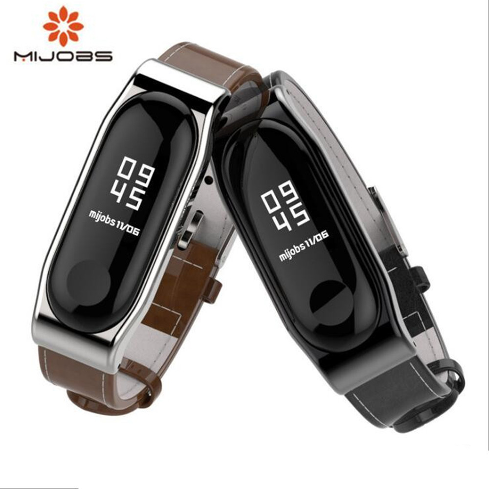 Mijobs mi band 3 Strap Genuine Leather Wrist Strap Bracelet For Xiaomi Mi Band3 Black Smart Watch Screwless Miband 3 Strap