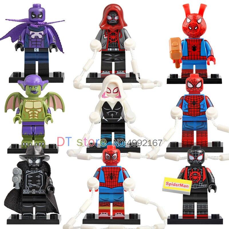 50 Pcs/Lot Legoing Gwen Stacy Ghost Spiderman Spider-Ham Prowler ultime dans les jouets de briques Spider-Verse pour enfants WM6052