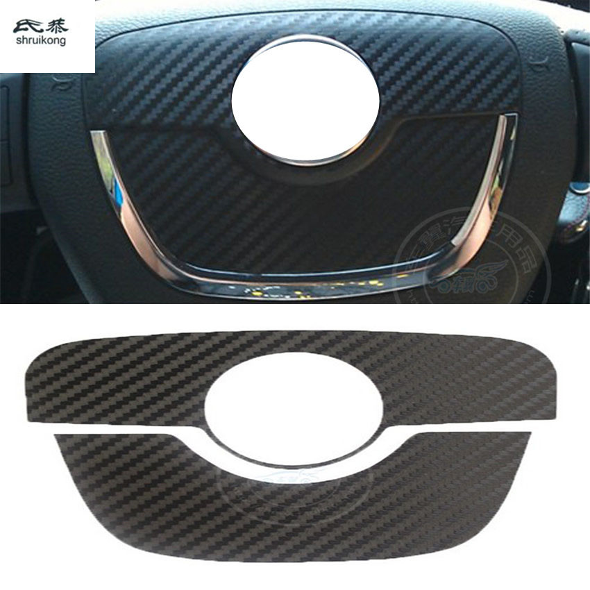 2pcs/lot Carbon Fiber Car Stickers Of The Steering Wheel Center For SKODA SUPERB 2007-2013 / Octavia 2010-2013 / Fabia 2010