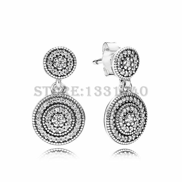 2016 Nova Primavera Pequeno Radiante Elegance Limpar CZ Brincos Stud Brincos Sólido 925 Sterling Silver Brincos Para As Mulheres