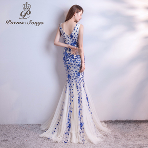 Image 5 - Poems Songs  sequins Mermaid  Evening Dress prom gowns Formal Party dress vestido de festa Elegant Vintage robe longue