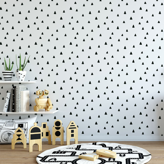 Scandinavian Simple Black And Wite Non Woven Wallpaper Bundle Decorative Living Room Geometric PW1435732057