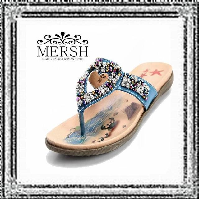 516c75897552 free shipping 100% authentic MERSH Korean sandals wholesale Special diamond  beaded heart-shaped clip toe flat sandals A0117 Blue