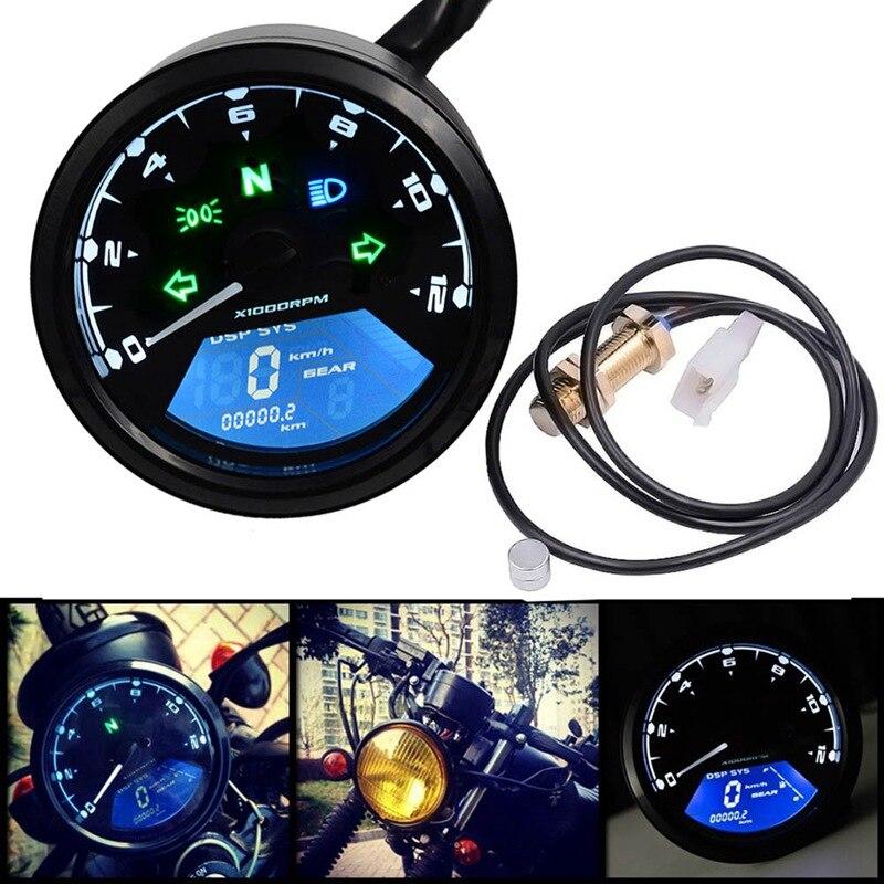 Universal Digital Motorcycle Speedometer Odometer Techometer Gauge Dual Speed LCD Screen все цены