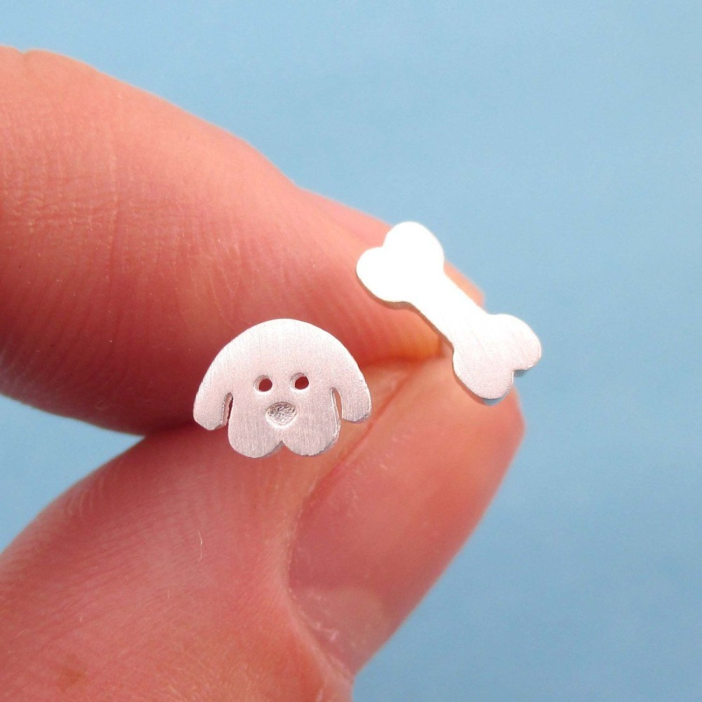 Daisies Cartoon Puppy Dog Face And Bone Shaped Stud Animal Earrings Fashion Jewelry For Women & Girl Gift